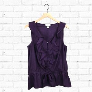 Loft Deep Purple Ruffle Sleeveless Blouse